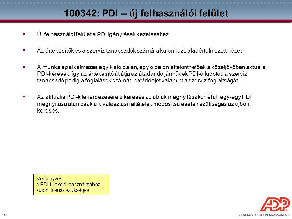30 100342: PDI – új felhasználói felület  Új felhasználói felület a PDI igénylések kezeléséhez  Az értékesítők és a szerviz tanácsadók számára külön