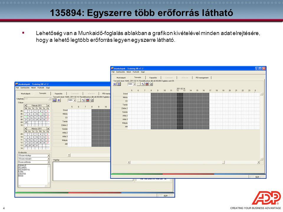 4 135894: Egyszerre több erőforrás látható  Lehetőség van a Munkaidő-foglalás ablakban a grafikon kivételével minden adat elrejtésére, hogy a lehető