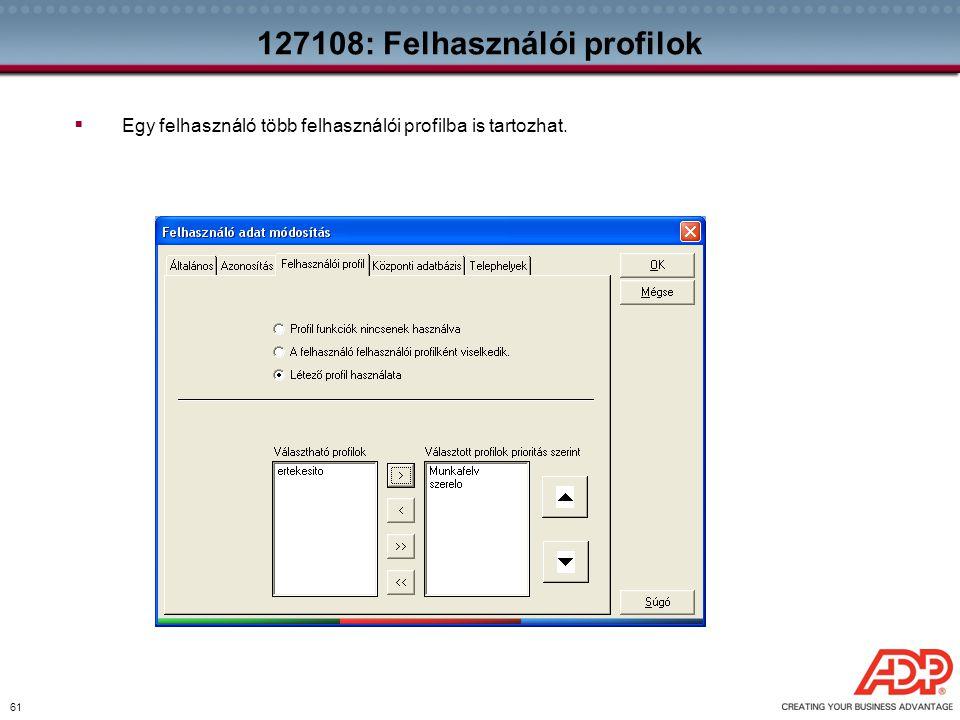 61 127108: Felhasználói profilok  Egy felhasználó több felhasználói profilba is tartozhat.
