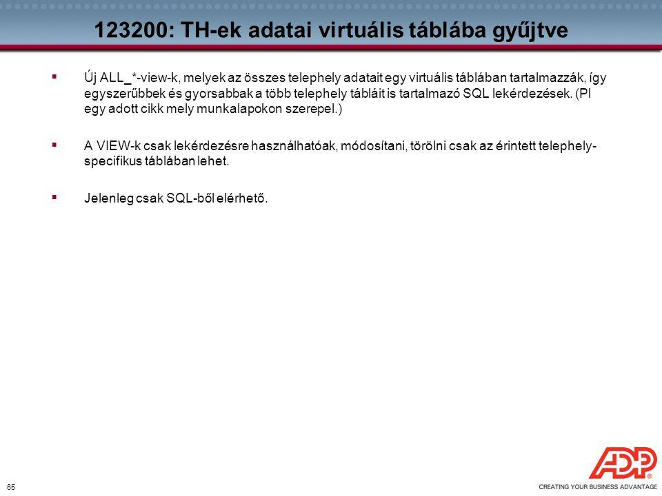 65 123200: TH-ek adatai virtuális táblába gyűjtve  Új ALL_*-view-k, melyek az összes telephely adatait egy virtuális táblában tartalmazzák, így egysz