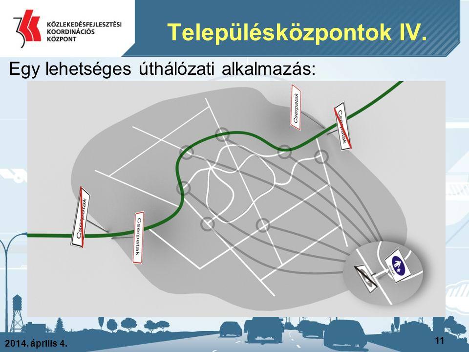 2014. április 4. 11 Egy lehetséges úthálózati alkalmazás: Településközpontok IV.