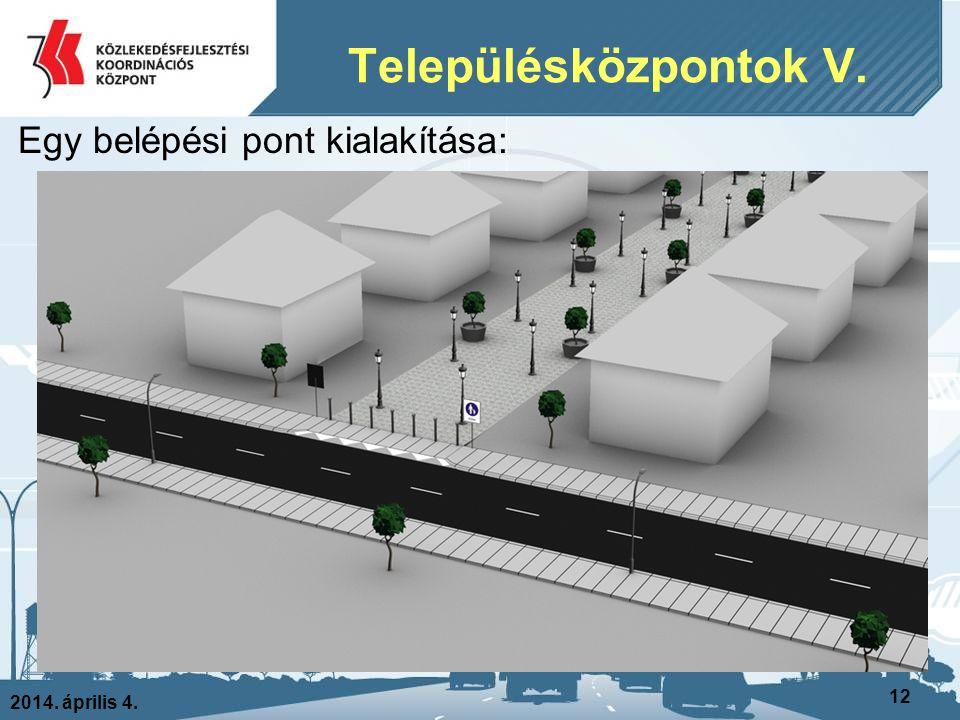 2014. április 4. 12 Egy belépési pont kialakítása: Településközpontok V.
