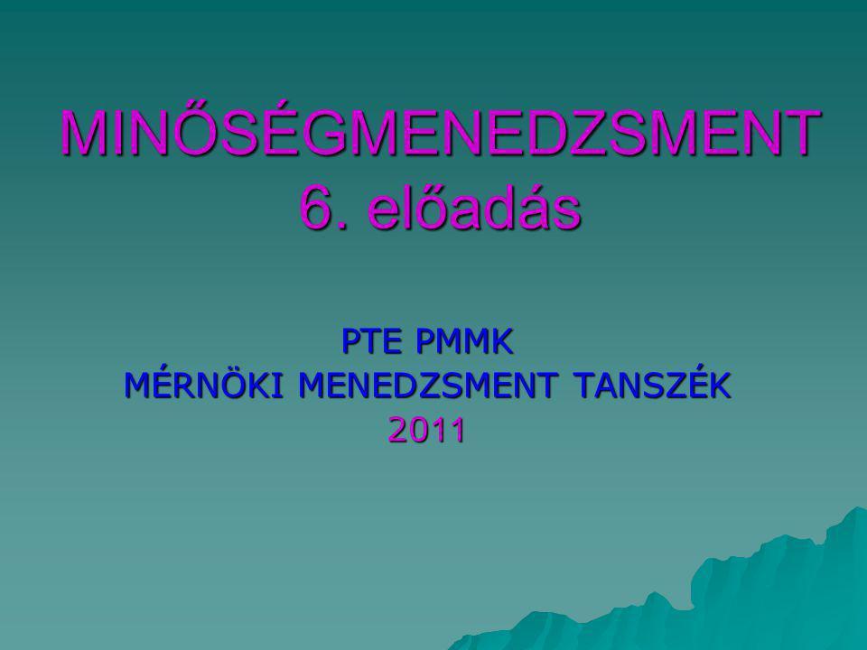 MINŐSÉGMENEDZSMENT 6. előadás PTE PMMK MÉRNÖKI MENEDZSMENT TANSZÉK 20 11