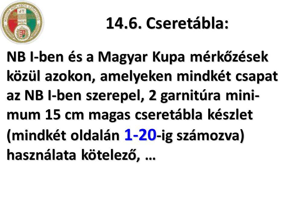 14.6. Cseretábla: NB I-ben és a Magyar Kupa mérkőzések közül azokon, amelyeken mindkét csapat az NB I-ben szerepel, 2 garnitúra mini- mum 15 cm magas