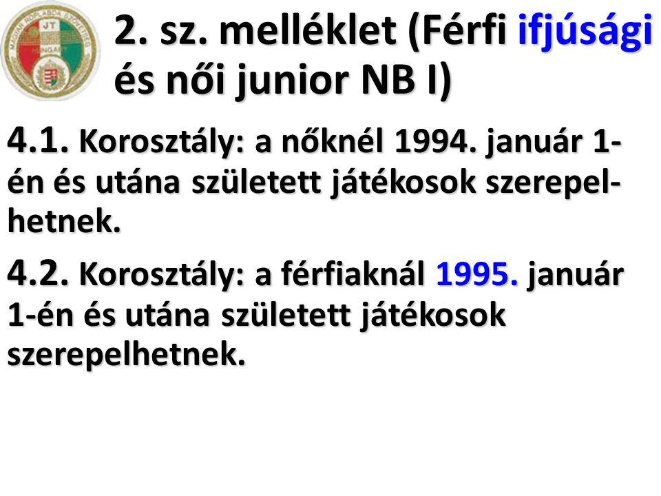 2. sz. melléklet (Férfi ifjúsági és női junior NB I) 4.1. Korosztály: a nőknél 1994. január 1- én és utána született játékosok szerepel- hetnek. 4.2.