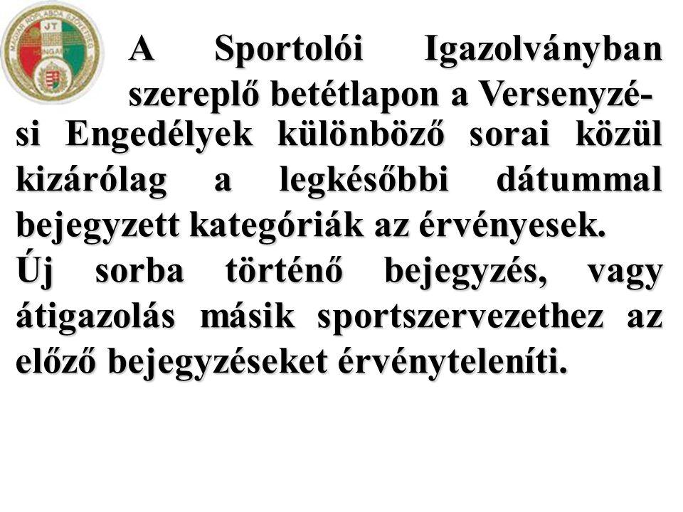 A Sportolói Igazolványban szereplő betétlapon a Versenyzé- si Engedélyek különböző sorai közül kizárólag a legkésőbbi dátummal bejegyzett kategóriák a