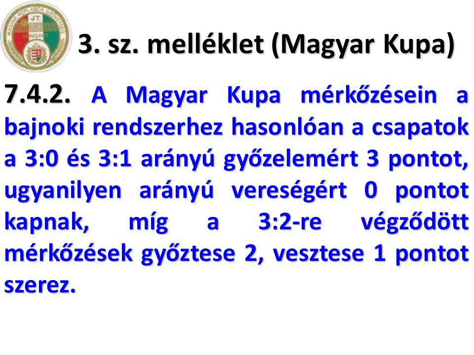 3. sz. melléklet (Magyar Kupa) 7.4.2. A Magyar Kupa mérkőzésein a bajnoki rendszerhez hasonlóan a csapatok a 3:0 és 3:1 arányú győzelemért 3 pontot, u