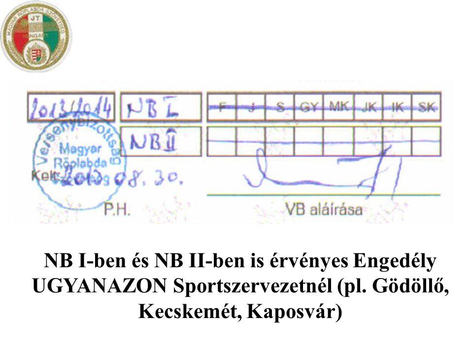 NB I-ben és NB II-ben is érvényes Engedély UGYANAZON Sportszervezetnél (pl. Gödöllő, Kecskemét, Kaposvár)