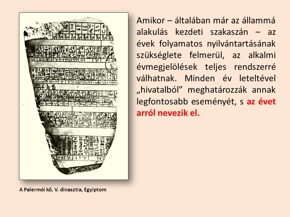 A Palermói kő, V. dinasztia, Egyiptom Amikor – általában már az állammá alakulás kezdeti szakaszán – az évek folyamatos nyilvántartásának szükséglete