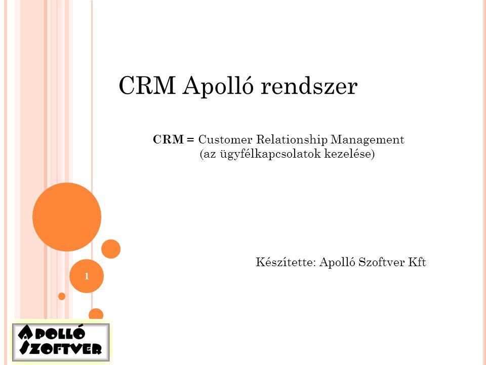 1 CRM Apolló rendszer Készítette: Apolló Szoftver Kft CRM = Customer Relationship Management (az ügyfélkapcsolatok kezelése)