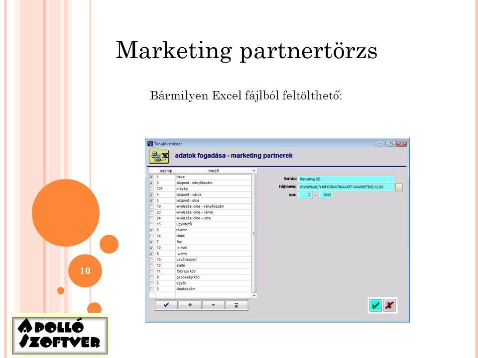 10 Marketing partnertörzs Bármilyen Excel fájlból feltölthető: