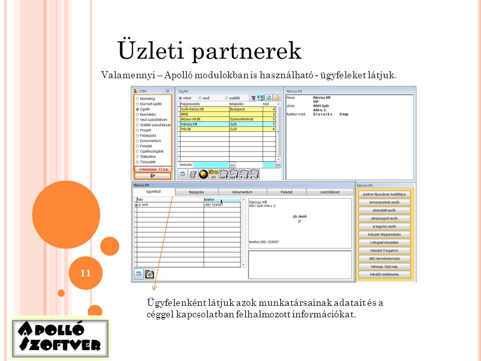11 Üzleti partnerek Valamennyi – Apolló modulokban is használható - ügyfeleket látjuk. Ügyfelenként látjuk azok munkatársainak adatait és a céggel kap