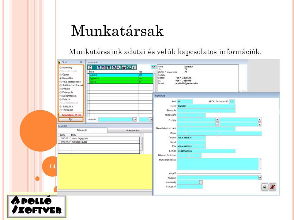 14 Munkatársak Munkatársaink adatai és velük kapcsolatos információk: