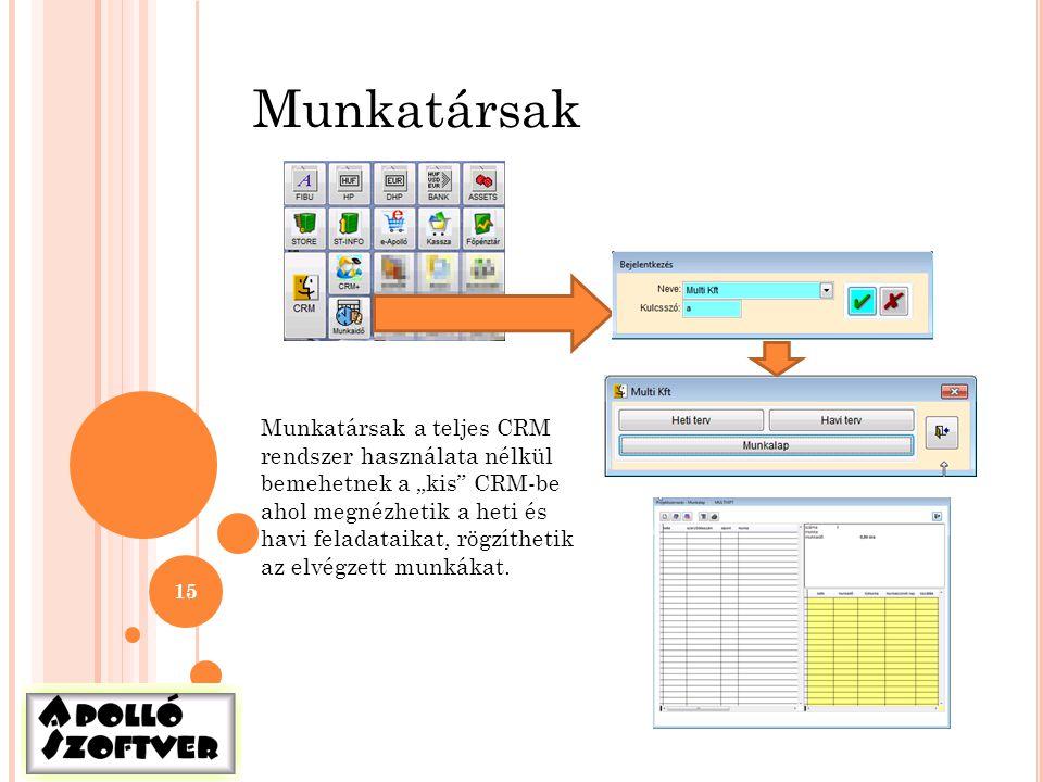 """15 Munkatársak Munkatársak a teljes CRM rendszer használata nélkül bemehetnek a """"kis"""" CRM-be ahol megnézhetik a heti és havi feladataikat, rögzíthetik"""