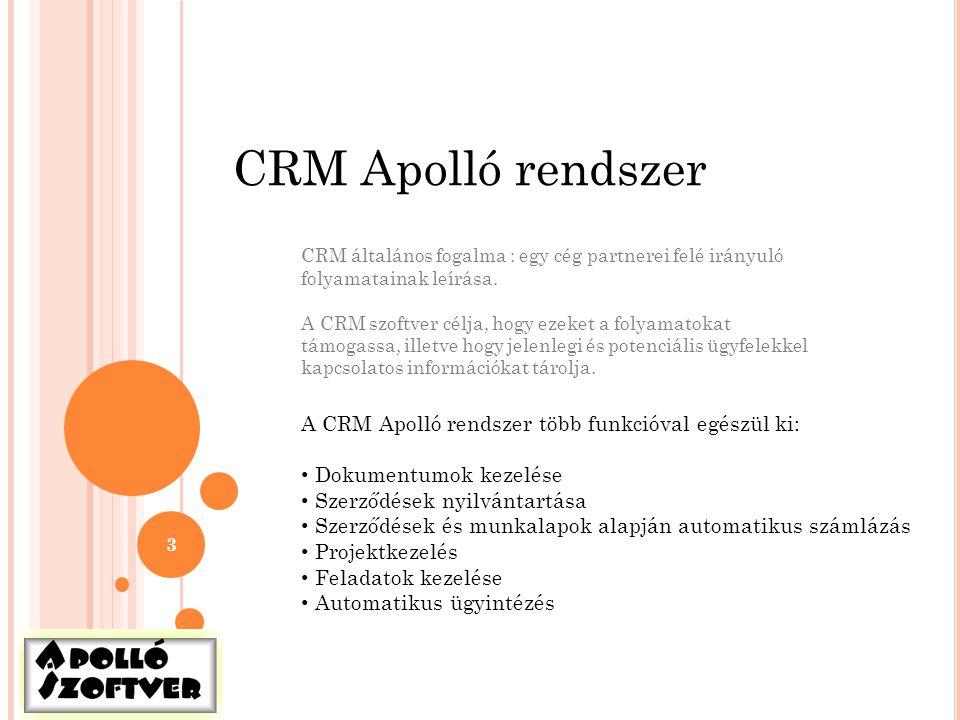 3 CRM Apolló rendszer CRM általános fogalma : egy cég partnerei felé irányuló folyamatainak leírása. A CRM szoftver célja, hogy ezeket a folyamatokat