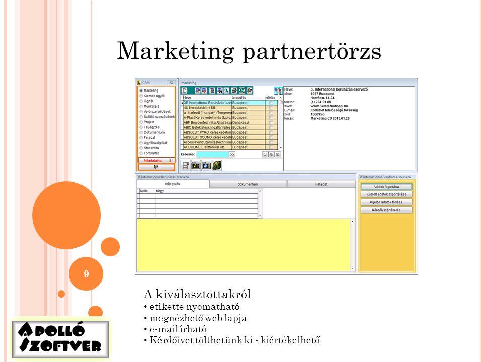 9 Marketing partnertörzs A kiválasztottakról • etikette nyomatható • megnézhető web lapja • e-mail írható • Kérdőívet tölthetünk ki - kiértékelhető
