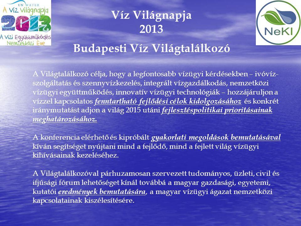 Víz Világnapja 2013 Budapesti Víz Világtalálkozó A Világtalálkozó célja, hogy a legfontosabb vízügyi kérdésekben – ivóvíz- szolgáltatás és szennyvízke