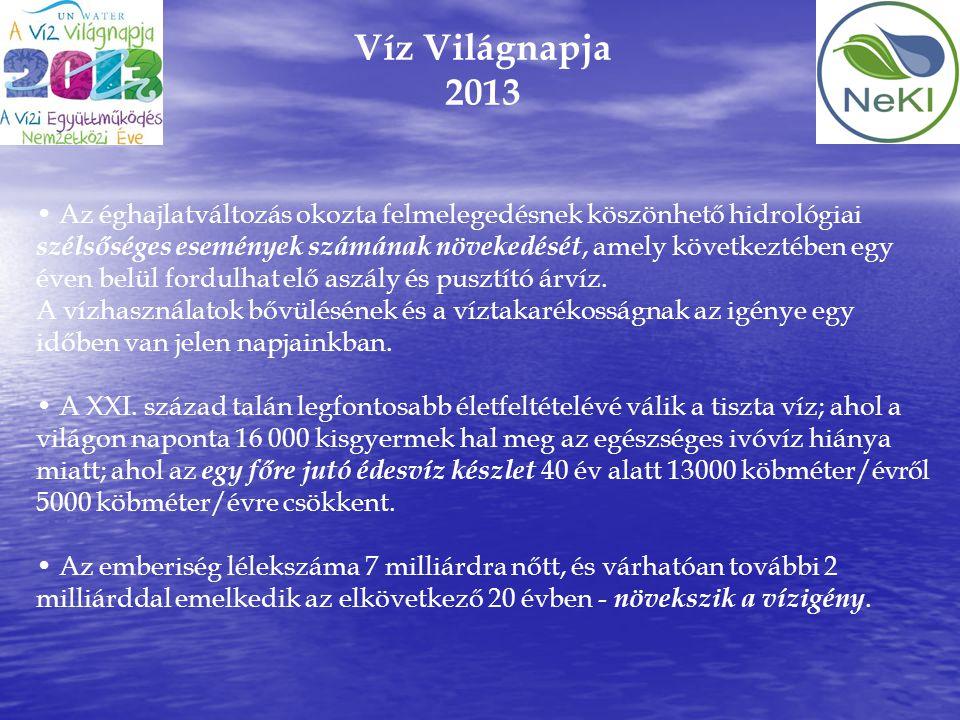 Víz Világnapja 2013 • Az éghajlatváltozás okozta felmelegedésnek köszönhető hidrológiai szélsőséges események számának növekedését, amely következtébe