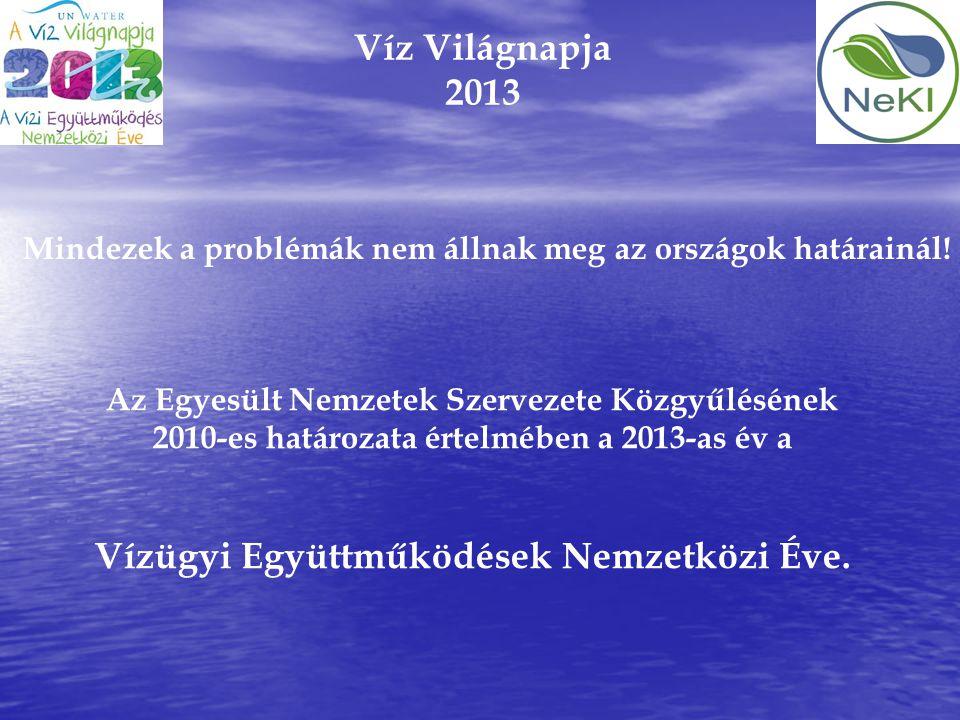 Víz Világnapja 2013 Az Egyesült Nemzetek Szervezete Közgyűlésének 2010-es határozata értelmében a 2013-as év a Vízügyi Együttműködések Nemzetközi Éve.