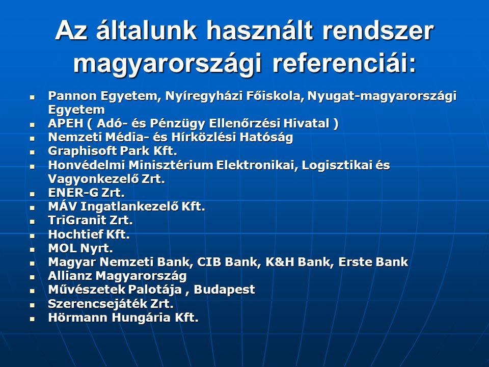 Az általunk használt rendszer magyarországi referenciái:  Pannon Egyetem, Nyíregyházi Főiskola, Nyugat-magyarországi Egyetem  APEH ( Adó- és Pénzügy