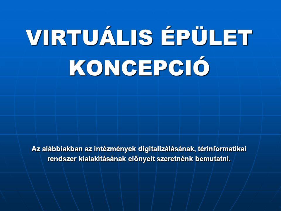 VIRTUÁLIS ÉPÜLET KONCEPCIÓ Az alábbiakban az intézmények digitalizálásának, térinformatikai rendszer kialakításának előnyeit szeretnénk bemutatni.