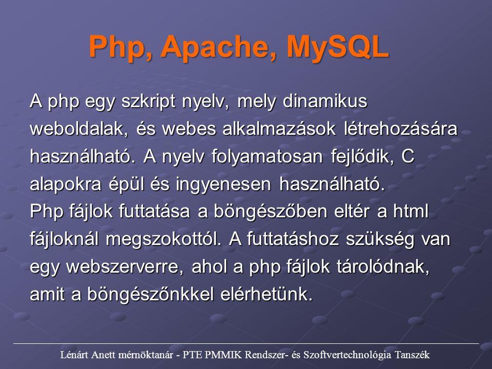 Php, Apache, MySQL A php egy szkript nyelv, mely dinamikus weboldalak, és webes alkalmazások létrehozására használható. A nyelv folyamatosan fejlődik,