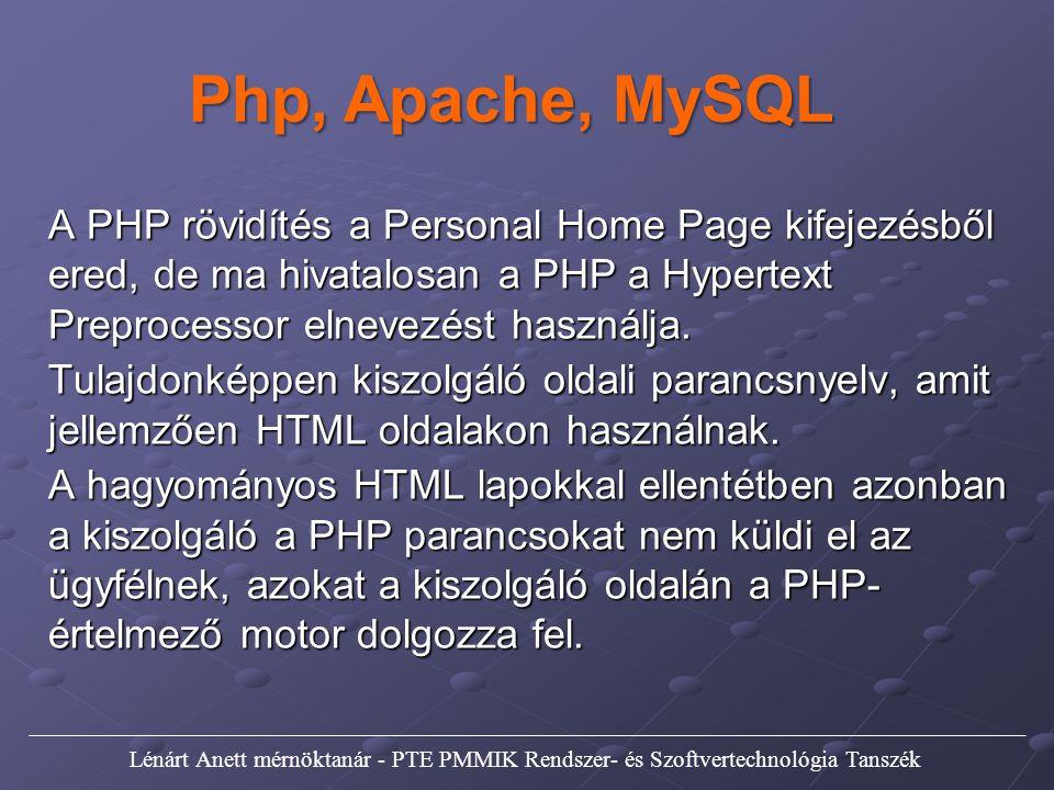 Php, Apache, MySQL A PHP rövidítés a Personal Home Page kifejezésből ered, de ma hivatalosan a PHP a Hypertext Preprocessor elnevezést használja. Tula