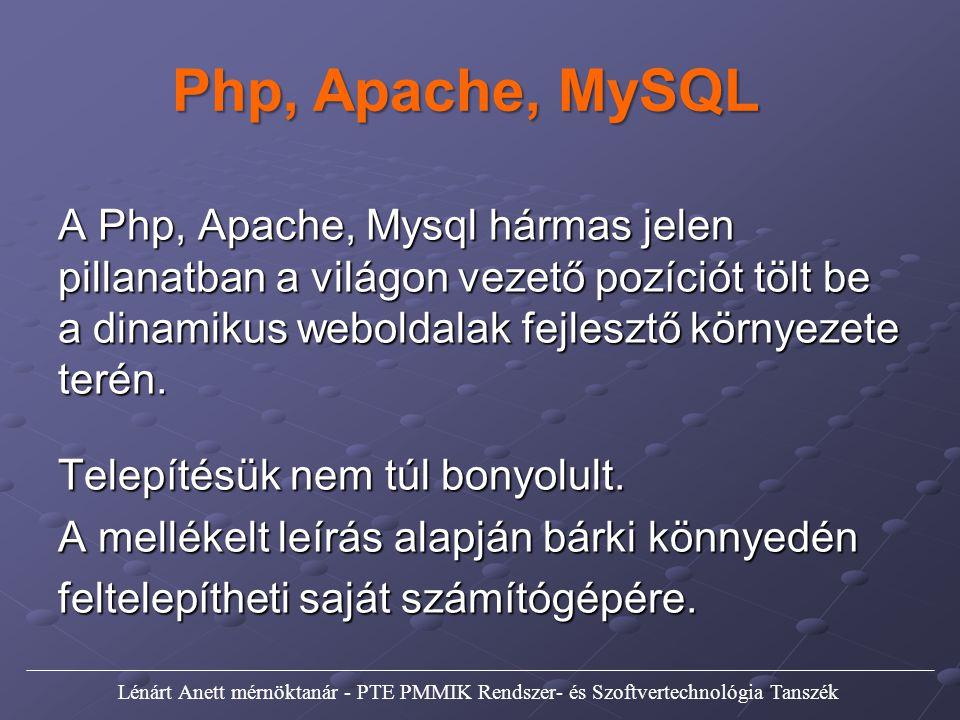 A Php, Apache, Mysql hármas jelen pillanatban a világon vezető pozíciót tölt be a dinamikus weboldalak fejlesztő környezete terén. Telepítésük nem túl