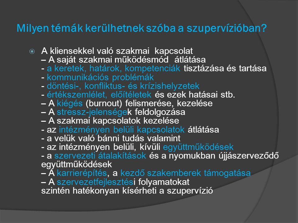 Milyen témák kerülhetnek szóba a szupervízióban?  A kliensekkel való szakmai kapcsolat – A saját szakmai működésmód átlátása - a keretek, határok, ko