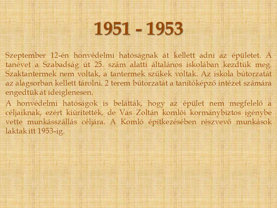 1950 Végre átadták eredeti rendeltetése szerint az újonnan épült Temesvár utcai épületet.