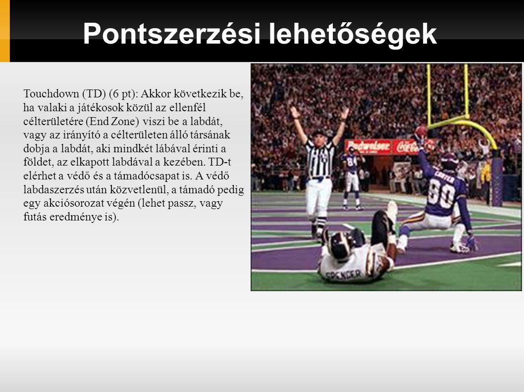 Pontszerzési lehetőségek Touchdown (TD) (6 pt): Akkor következik be, ha valaki a játékosok közül az ellenfél célterületére (End Zone) viszi be a labdát, vagy az irányító a célterületen álló társának dobja a labdát, aki mindkét lábával érinti a földet, az elkapott labdával a kezében.