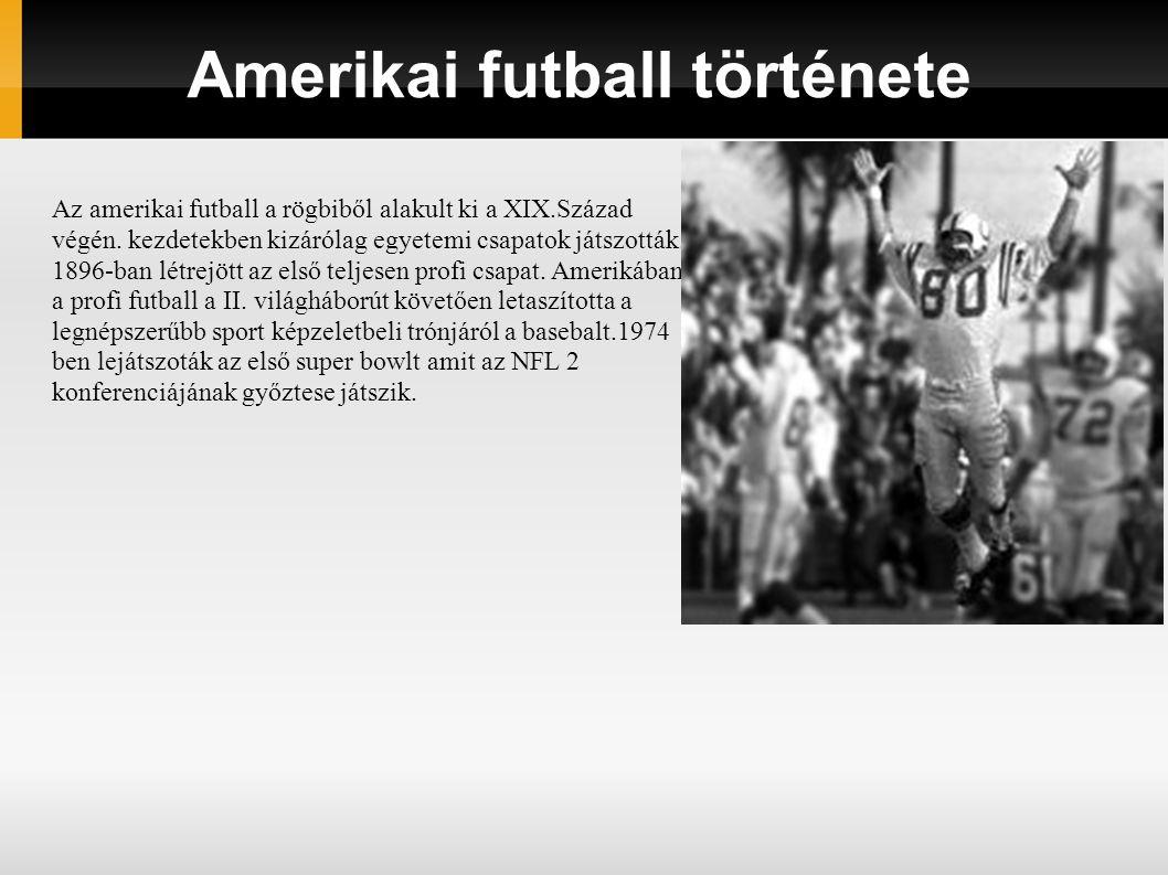 Amerikai futball története Az amerikai futball a rögbiből alakult ki a XIX.Század végén. kezdetekben kizárólag egyetemi csapatok játszották. 1896-ban