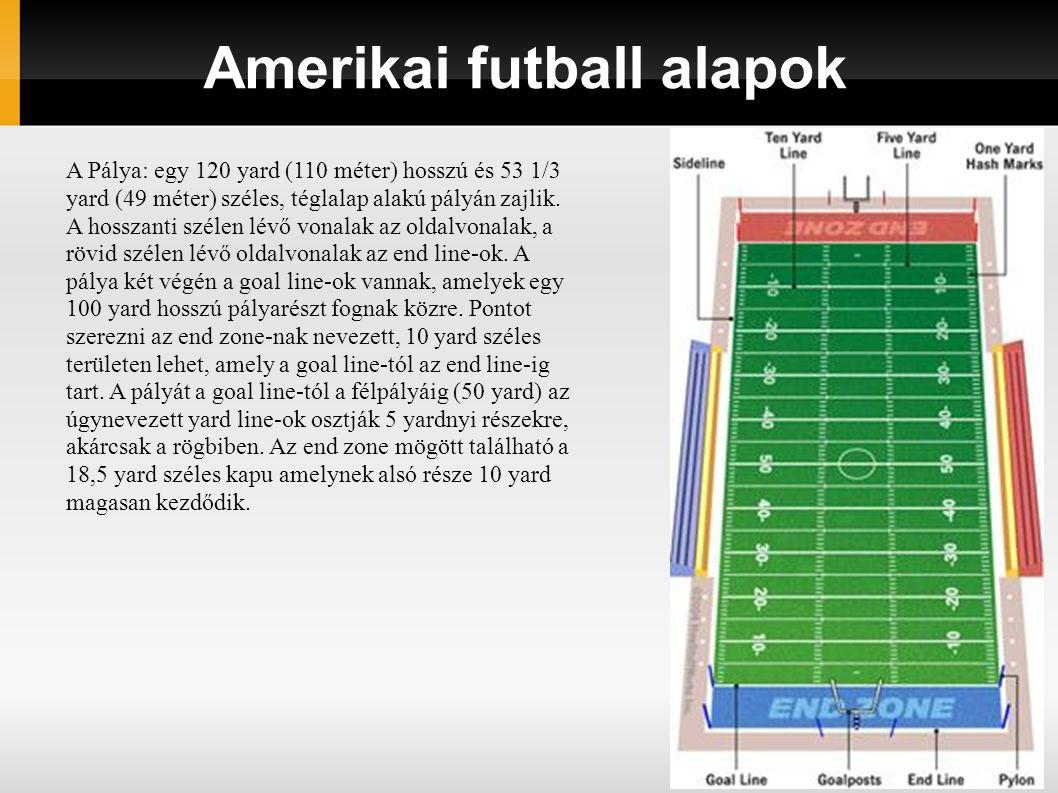 Amerikai futball alapok A Pálya: egy 120 yard (110 méter) hosszú és 53 1/3 yard (49 méter) széles, téglalap alakú pályán zajlik. A hosszanti szélen lé