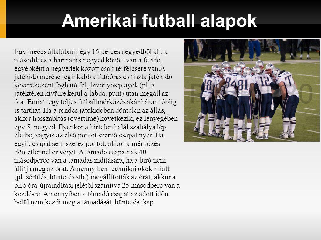 Amerikai futball alapok Egy meccs általában négy 15 perces negyedből áll, a második és a harmadik negyed között van a félidő, egyébként a negyedek köz