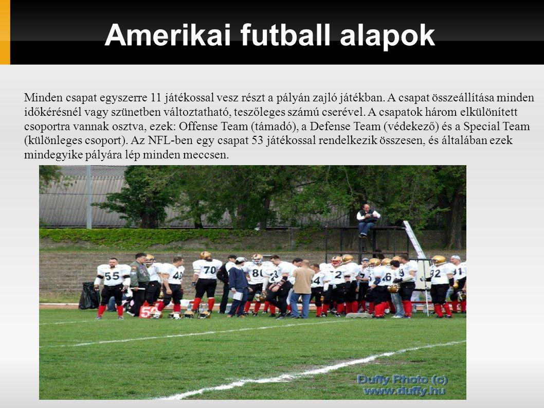 Amerikai futball alapok Minden csapat egyszerre 11 játékossal vesz részt a pályán zajló játékban. A csapat összeállítása minden időkérésnél vagy szüne