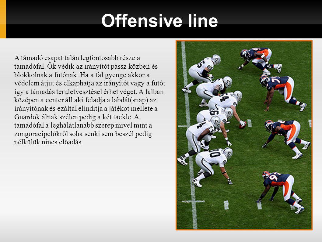 Defense 4 fő - védőfal (Defensive Line - DL) 3 fő - középső védő (Linebacker - LB) 2 fő - szélső védő (Cornerback - CB) 1 fő - elősöprögető (Strong Safety - S) 1 fő - söprögető (Free Safety - FS)