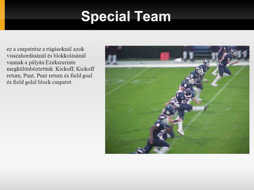 Special Team ez a csapatrész a rúgásoknál azok visszahordásánál és blokkolásánál vannak a pályán Ezekszerinte megkülönböztetünk Kickoff, Kickoff return, Punt, Punt return és field goal és field golal block csapatot.