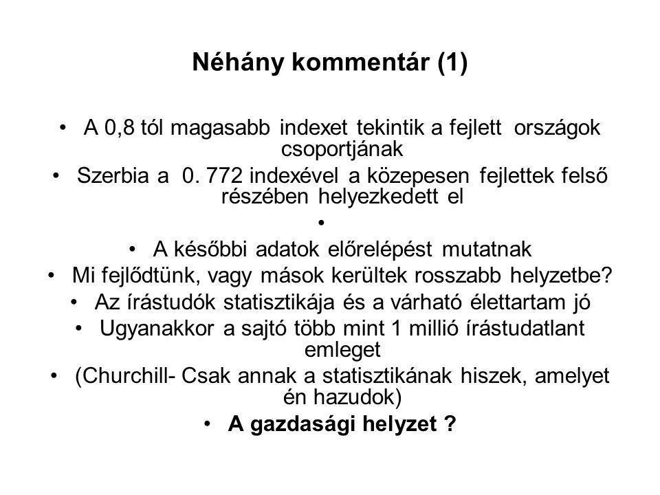 Néhány kommentár (1) •A 0,8 tól magasabb indexet tekintik a fejlett országok csoportjának •Szerbia a 0.
