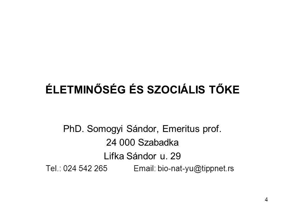 ÉLETMINŐSÉG ÉS SZOCIÁLIS TŐKE PhD. Somogyi Sándor, Emeritus prof.