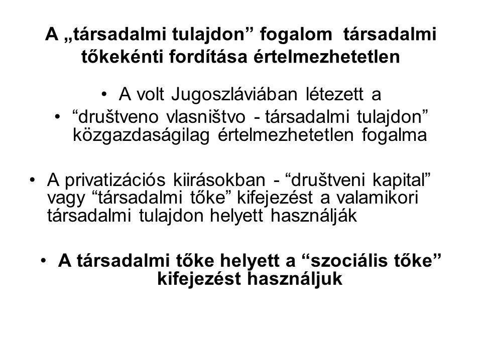 """A """"társadalmi tulajdon fogalom társadalmi tőkekénti fordítása értelmezhetetlen •A volt Jugoszláviában létezett a • društveno vlasništvo - társadalmi tulajdon közgazdaságilag értelmezhetetlen fogalma •A privatizációs kiirásokban - društveni kapital vagy társadalmi tőke kifejezést a valamikori társadalmi tulajdon helyett használják •A társadalmi tőke helyett a szociális tőke kifejezést használjuk"""