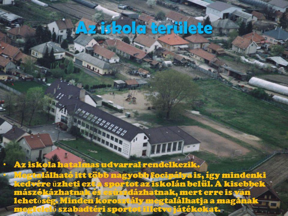Az iskola területe • Az iskola hatalmas udvarral rendelkezik. • Megtalálható itt több nagyobb focipálya is, így mindenki kedvére ű zheti ezt a sportot