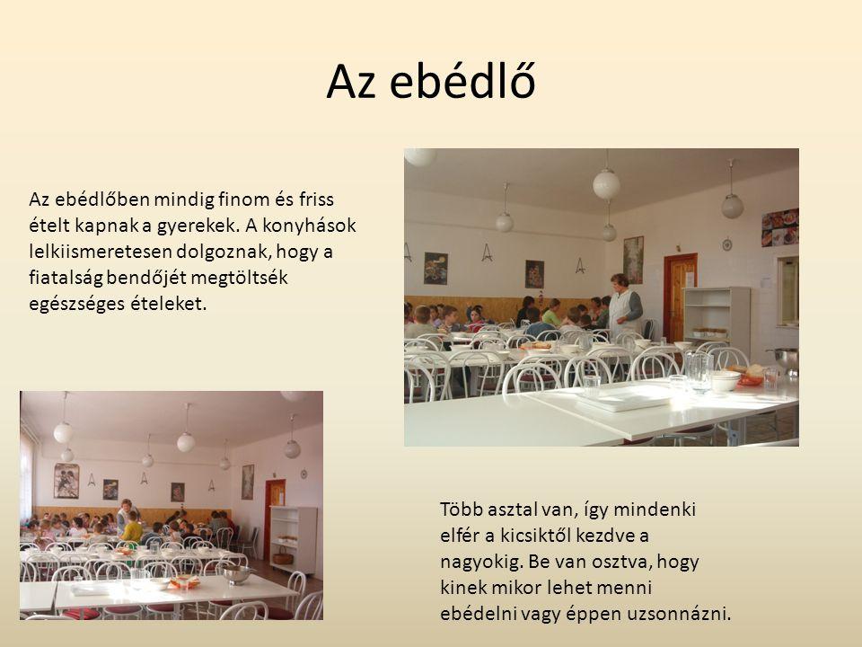 Az ebédlő Az ebédlőben mindig finom és friss ételt kapnak a gyerekek. A konyhások lelkiismeretesen dolgoznak, hogy a fiatalság bendőjét megtöltsék egé