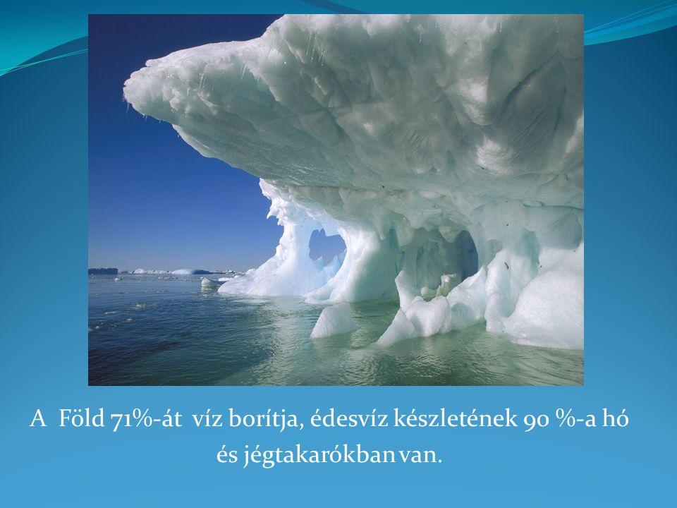 A Föld 71 %-át víz borítja, édesvíz készletének 90 %-a hó és jégtakarókban van.