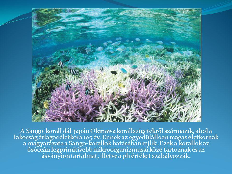 A Sango-korall dál-japán Okinawa korallszigetekről származik, ahol a lakosság átlagos életkora 105 év. Ennek az egyedülállóan magas életkornak a magya
