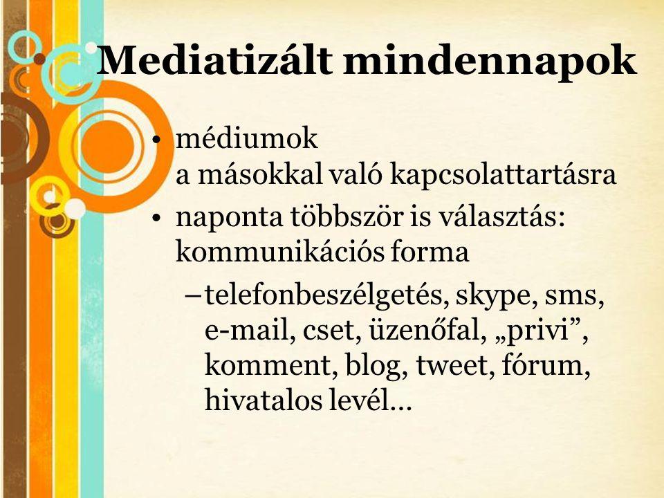 Free Powerpoint Templates Mediatizált mindennapok •médiumok a másokkal való kapcsolattartásra •naponta többször is választás: kommunikációs forma –tel