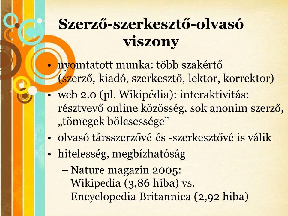 Free Powerpoint Templates Szerző-szerkesztő-olvasó viszony •nyomtatott munka: több szakértő (szerző, kiadó, szerkesztő, lektor, korrektor) •web 2.0 (p