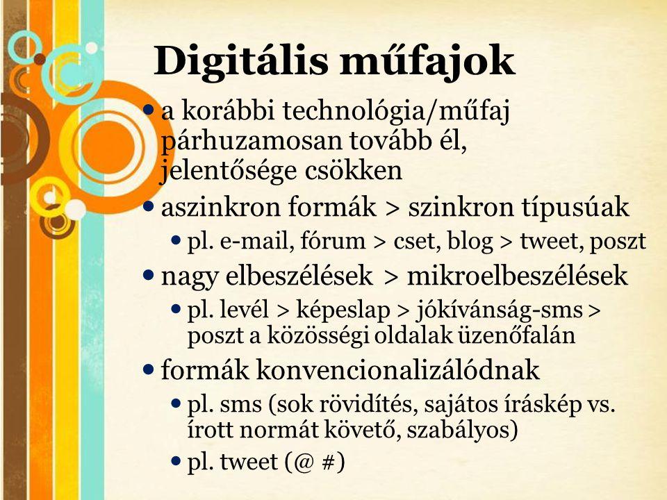 Free Powerpoint Templates Digitális műfajok  a korábbi technológia/műfaj párhuzamosan tovább él, jelentősége csökken  aszinkron formák > szinkron tí