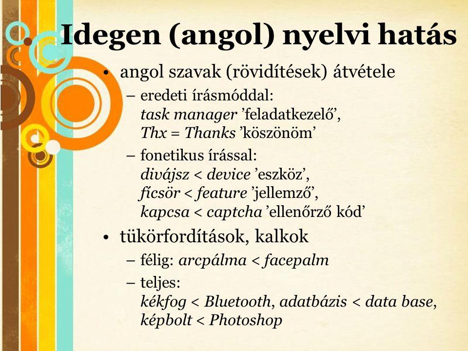 Free Powerpoint Templates Idegen (angol) nyelvi hatás •angol szavak (rövidítések) átvétele –eredeti írásmóddal: task manager 'feladatkezelő', Thx = Th