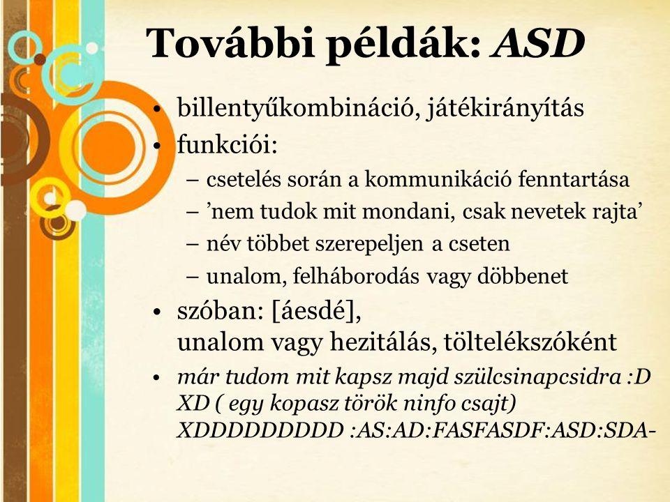 Free Powerpoint Templates További példák: ASD •billentyűkombináció, játékirányítás •funkciói: –csetelés során a kommunikáció fenntartása –'nem tudok m