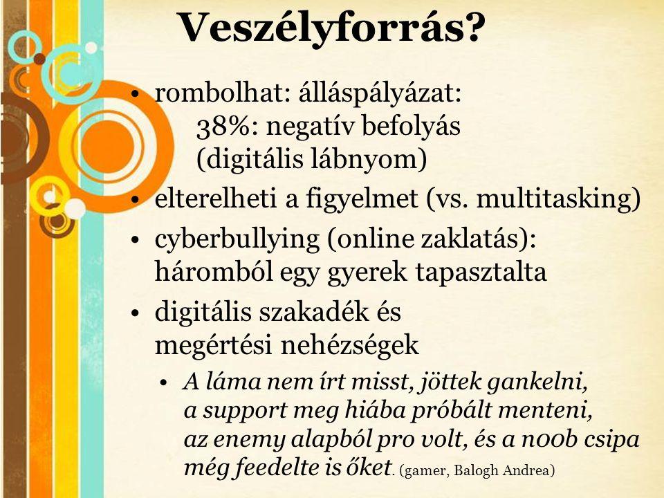 Free Powerpoint Templates Veszélyforrás? •rombolhat: álláspályázat: 38%: negatív befolyás (digitális lábnyom) •elterelheti a figyelmet (vs. multitaski